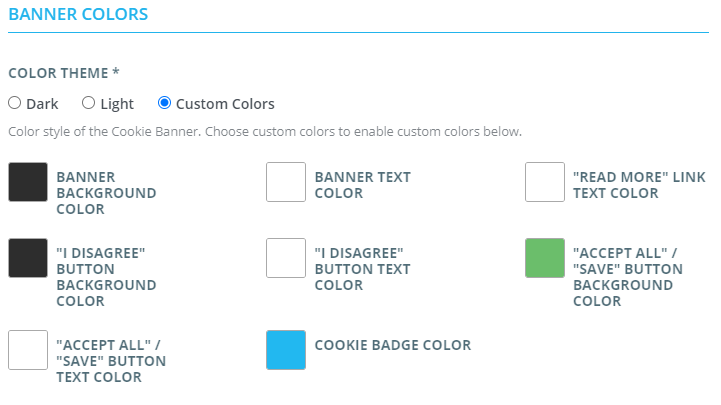 custom colors settings